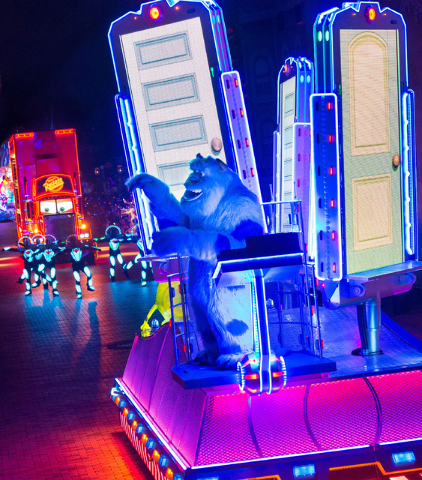 """Sulley from """"Monster's, Inc."""" will be featured as part of Disneyland's """"Paint the Night"""" during the park's Diamond Celebration."""
