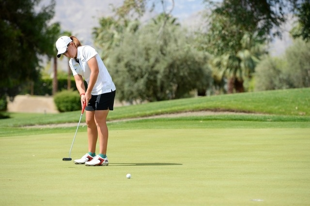 25 APR 2014: Athletes compete during the Mountain West Conference Women's Golf Championship held at the Mission Hills Country Club in Rancho Mirage, CA. Brett Wilhelm/NCAA Photos
