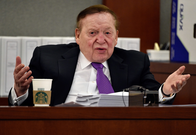 Las Vegas Sands Corp. Chairman and CEO Sheldon Adelson testifies during a wrongful termination case at the Clark County Justice Center on Friday, May 1, 2015, in Las Vegas. The former president of ...