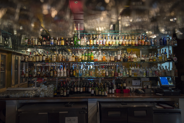 A well stocked bar is housed inside Ali Baba in Las Vegas on Friday, May 22, 2015. The restaurant is at 8826 S. Eastern Ave. (Joshua Dahl/Las Vegas Review-Journal)
