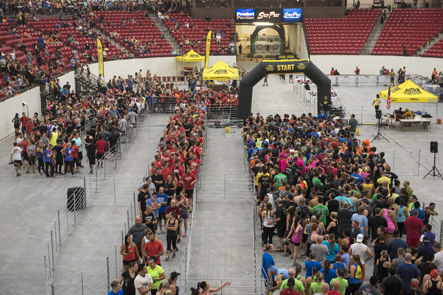 Participants gather at the BADASS Dash obstacle course at the South Point hotel-casino in Las Vegas on Saturday, May 23, 2015. A portion of the proceeds will benefit non-profit organization Autism ...