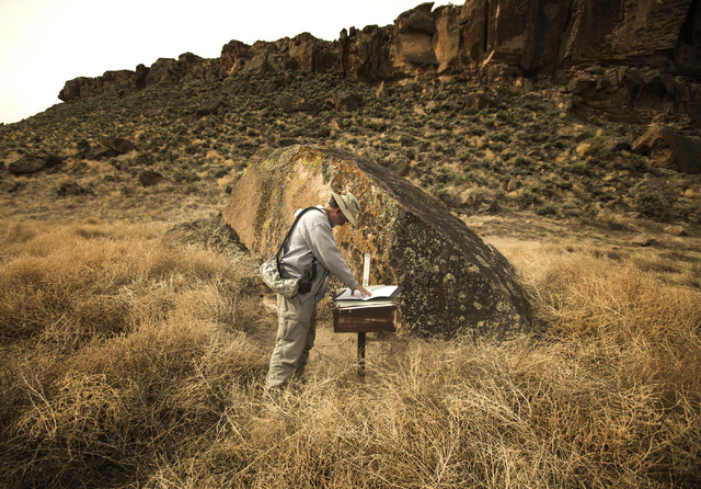 Naturalist and outdoorsman Jim Boone signs the visitors book  in  the White River Narrows area, about 130 miles north of Las Vegas on Wednesday, May 20, 2015. Over 800,000 acres in central Nevada  ...