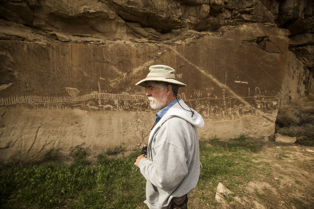 Naturalist and outdoorsman Jim Boone views rock art in  the White River Narrows area, about 130 miles north of Las Vegas on Wednesday, May 20, 2015. Over 800,000 acres in central Nevada is propose ...