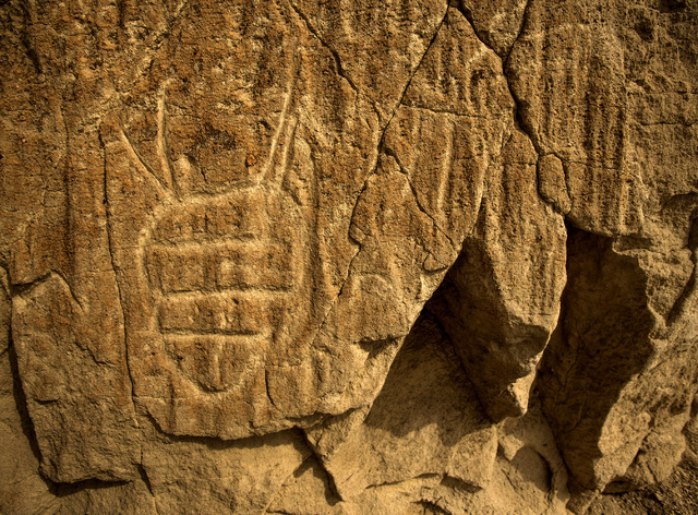 Rock art is seen Wednesday, May 20, 2015, in the White River Narrows area, about 130 miles north of Las Vegas. Over 800,000 acres in central Nevada is proposed as the Basin and Range National Monu ...