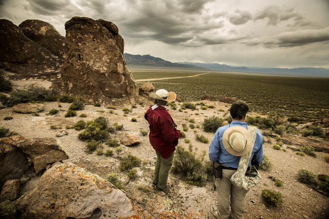 Naturalist and outdoorsman Jim Boone, right, and his wife, Liz, view Garden Valley, which is about a three-hour drive north of Las Vegas, on Wednesday, May 20, 2015. Over 800,000 acres in central  ...