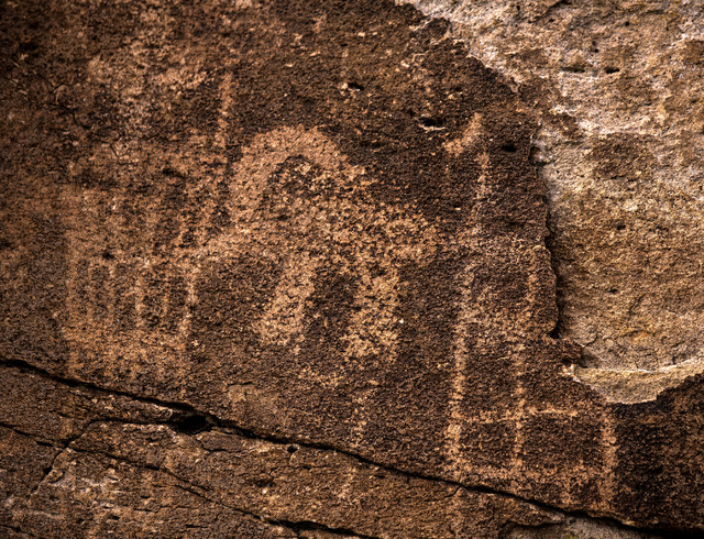 Rock art is seen Wednesday, May 20, 2015, in the Mount Irish Archaeological District, located about 130 miles north of Las Vegas. Over 800,000 acres in central Nevada is proposed as the Basin and  ...