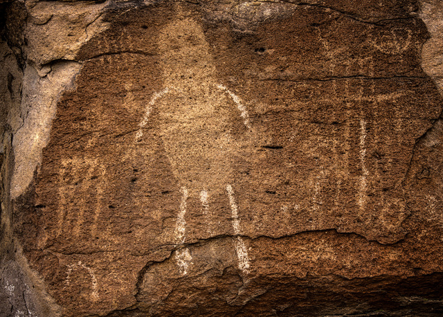 Pahranagat man figure rock art is seen Wednesday, May 20, 2015, in the Mount Irish Archaeological District, located about 130 miles north of Las Vegas. Over 800,000 acres in central Nevada is prop ...