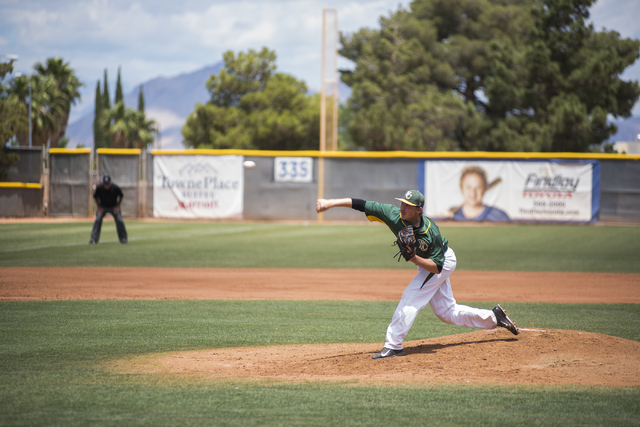 Yavapai's Degan Harte (27) pitches against College of Southern Nevada during their Western District Championship game played at Morse Stadium on the CSN campus in Henderson, Nev., on Saturday, May ...