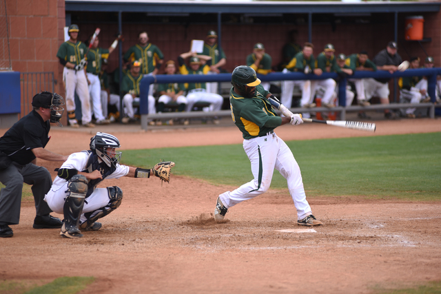 Yavapai's Alexis Olmeda (23) swings at a pitch against College of Southern Nevada during their Western District Championship game played at Morse Stadium on the CSN campus in Henderson, Nev., on S ...