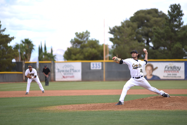 College of Southern Nevada's Anthony Martine (22) pitches against Yavapai College during their Western District Championship game played at Morse Stadium on the CSN campus in Henderson, Nev., on S ...