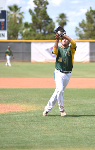 Yavapai's Nicko Ortega (26) catches a pop up against College of Southern Nevada during their Western District Championship game played at Morse Stadium on the CSN campus in Henderson, Nev., on Sat ...