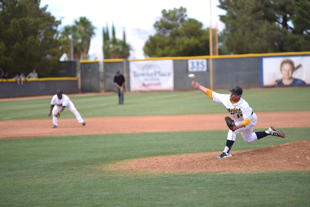 College of Southern Nevada's Josh Nuernberg (19) pitches against Yavapai College during their Western District Championship game played at Morse Stadium on the CSN campus in Henderson, Nev., on Sa ...