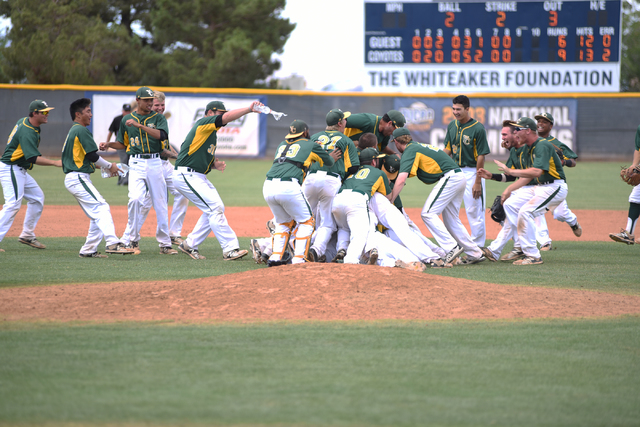 Yavapai College celebrates after defeating College of Southern Nevada 9-6 during their Western District Championship game played at Morse Stadium on the CSN campus in Henderson, Nev., on Saturday, ...