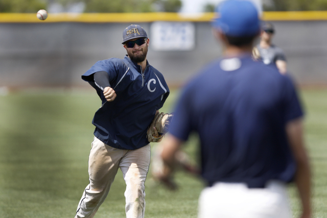College of Southern Nevada's Alec Hutt throws the ball during a team baseball practice at Morse Stadium at the College of Southern Nevada Henderson Campus in Henderson, Nev., Tuesday, May 12, 2015 ...