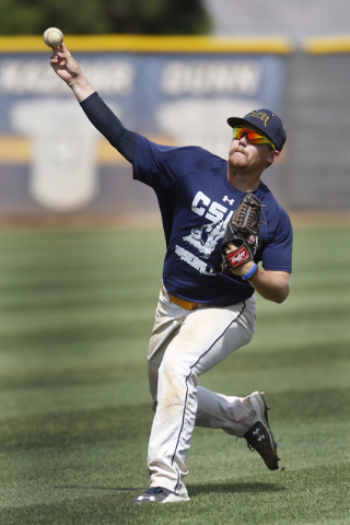 College of Southern Nevada's Josh Nuernberg throws the ball during a team baseball practice at Morse Stadium at the College of Southern Nevada Henderson Campus in Henderson, Nev., Tuesday, May 12, ...