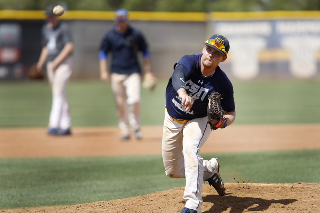 College of Southern Nevada's Josh Nuernberg pitches the ball during a team baseball practice at Morse Stadium at the College of Southern Nevada Henderson Campus in Henderson, Nev., Tuesday, May 12 ...