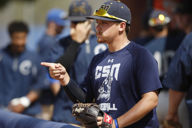 College of Southern Nevada's Josh Nuernberg makes a hand gesture during a team baseball practice at Morse Stadium at the College of Southern Nevada Henderson Campus in Henderson, Nev., Tuesday, Ma ...