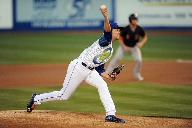 Las Vegas 51s starting pitcher Noah Syndergaard delivers against the Fresno Grizzlies during the first inning of their minor league baseball game at Cashman Field in Las Vegas Saturday April 18, 2 ...