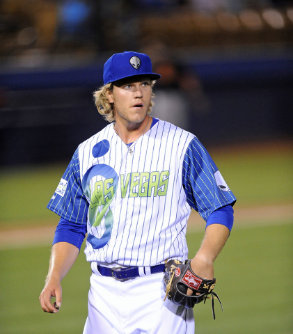 Las Vegas 51s starting pitcher Noah Syndergaard is seen heading to the dugout after retiring the Fresno Grizzlies in the second inning of their minor league baseball game at Cashman Field in Las V ...