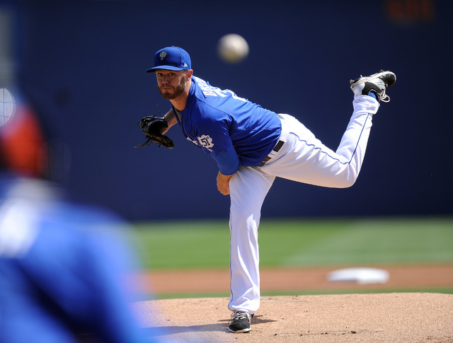 Las Vegas 51s starting pitcher Darin Gorski delivers to the Sacramento River Cats in the first inning of their Triple-A minor league baseball game at Cashman Field in Las Vegas Wednesday, May 13,  ...