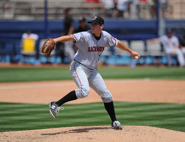 Sacramento River Cats starting pitcher Tyson Blach delivers to the Las Vegas 51s in fifth inning of their Triple-A minor league baseball game at Cashman Field in Las Vegas Wednesday, May 13, 2015. ...
