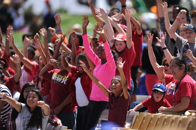 Fifth-grade students from Dean Petersen Elementary School attend the Las Vegas 51s game during the 12th Annual School Day Game on Wednesday, May 13, 2015. About 5,000 students attended the Smoker' ...