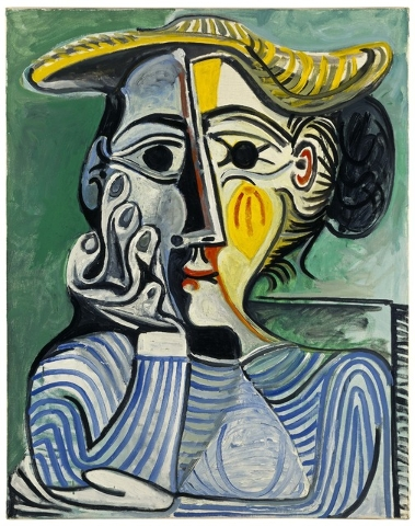 """Picasso's """"Femme au Chignon et au Chapeau"""" (Woman Wearing Yellow Hat (Jacqueline)) will be on display at Bellagio's Gallery of Fine Art, starting July 3, as part of a new exhibit focusing on the a ..."""