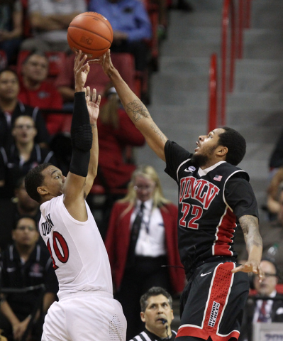 UNLV guard Jelan Kendrick blocks a shot by San Diego State guard Aqeel Quinn during the second half of their Mountain West Conference tournament quarterfinal game Thursday, March 12, 2015, at the  ...