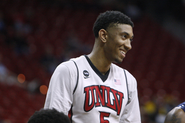 UNLV forward Chris Wood smiles during a free throw attempt during the second half of their Mountain West Conference tournament game against UNR Wednesday, March 11, 2015, at the Thomas & Mack Cent ...