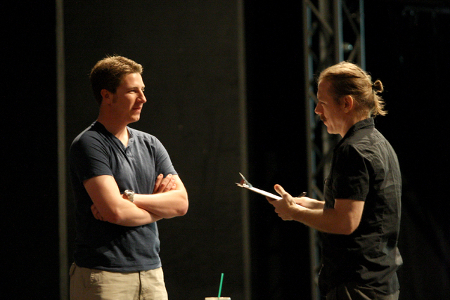 Resident Musical Director for Blue Man Group, Todd Waetzig, right, reviews Kile Uhlenbrock's drum audition in the Blue Man Theater at the Monte Carlo hotel casino on Wednesday, May 27, 2015. (Mich ...