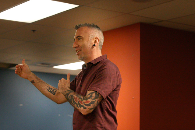 Tim Aumiller, Director of Casting and Training for the Blue Man Group, explains a performance exercise to a group of candidates will execute as part of the audition process at the Monte Carlo's Bl ...