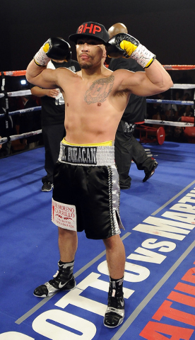 Las Vegas boxer Jesus Gutierrez celebrates after knocking out Pablo Becerra in the first round of their lightweight bout at the Tropicana Hotel Pavilion in Las Vegas Saturday, May 31, 2014. (Josh  ...