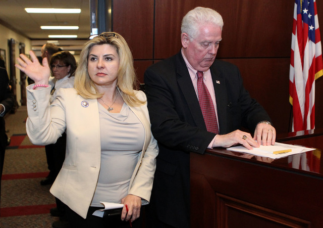 "Nevada Assemblywoman Michele Fiore, R-Las Vegas, apologizes to her fellow Assembly members for ""storming off"" after a roll call vote killed her effort to save the campus carry bill at th ..."