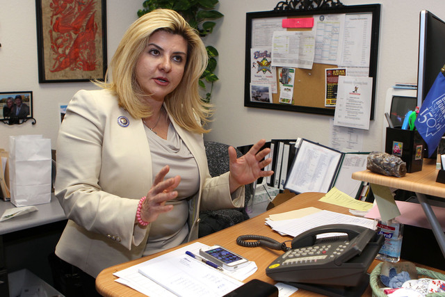 Nevada Assemblywoman Michele Fiore, R-Las Vegas, talks from her office at the Legislative Building in Carson City, Nev., on Thursday, May 21, 2015. Fiore stormed off the Assembly floor after losin ...