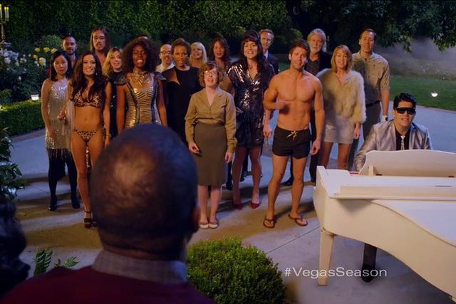 Vegas Season carolers serenade a couple at their doorstep in a television commercial produced for the Las Vegas Convention and Visitors Authority for its summer tourism campaign that debuted this  ...