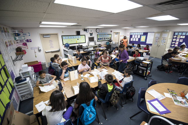 Students read in Meredith White's fourth grade class, which is held in a portable unit due to overcrowding, at Carolyn S. Reedom Elementary School in Las Vegas on Wednesday, May 20, 2015. (Joshua  ...