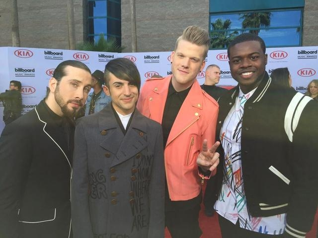 Pentatonix poses for a Review-Journal photo on the Billboard Awards red carpet on May 17, 2015. (Chris Kudialis/Las Vegas Review-Journal)