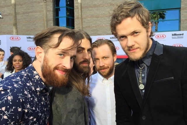 Imagine Dragons poses for a Review-Journal photo on the Billboard Awards red carpet on May 17, 2015. (Chris Kudialis/Las Vegas Review-Journal)