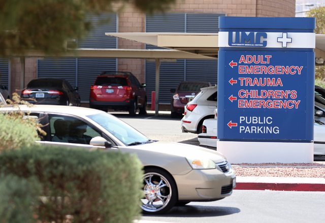 A sign for UMC Children's Hospital of Nevada emergency room is shown outside UMC Thursday, May 7, 2015, in Las Vegas. The hospital's pediatric emergency room tends to 3-4 mental health cases per d ...