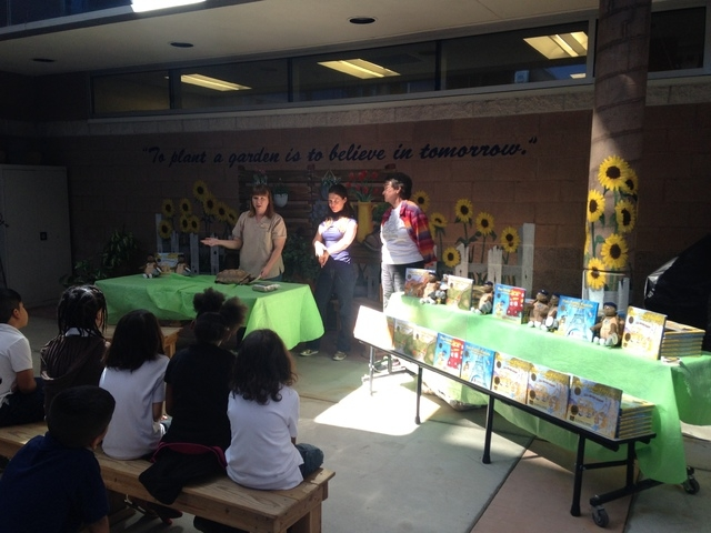 Members of Communities In Schools of Nevada, the Springs Preserve and the Tortoise Group gathered at Thiriot Elementary School, 5700 W. Harmon Ave., May 19, 2015, to celebrate World Turtle Day wit ...