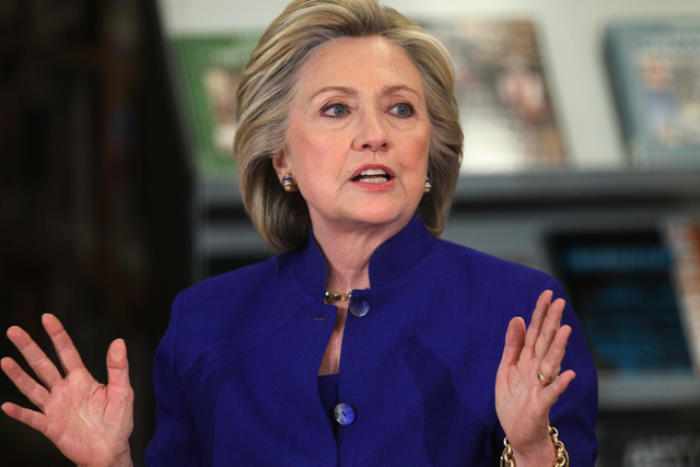 Democratic presidential candidate Hillary Clinton speaks at Rancho High School in North Las Vegas during a round table discussion on immigration Tuesday, May 5, 2015. (Erik Verduzco/Las Vegas Revi ...
