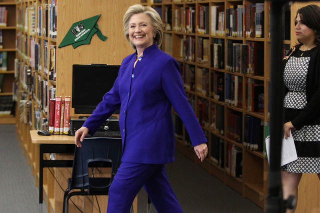 Hillary Clinton arrives for a roundtable discussion on families and immigration Tuesday, May 5, 2015, at Rancho High School. (Sam Morris/Las Vegas Review-Journal) Follow Sam Morris on Twitter @sam ...
