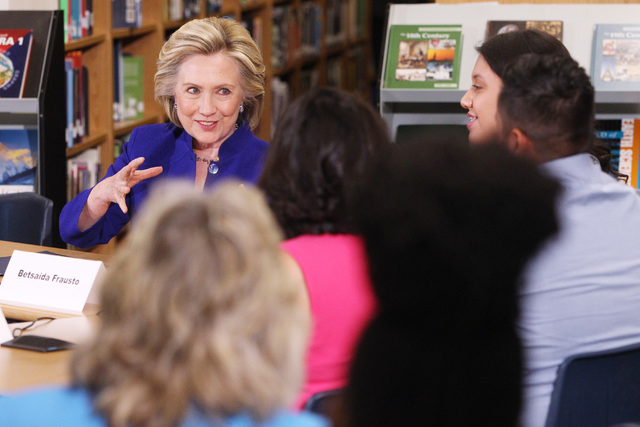 Hillary Clinton speaks during a roundtable discussion on families and immigration Tuesday, May 5, 2015, at Rancho High School. (Sam Morris/Las Vegas Review-Journal) Follow Sam Morris on Twitter @s ...