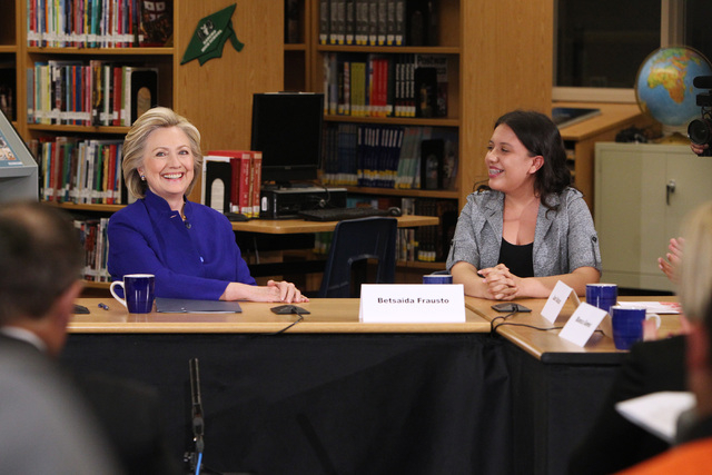 Hillary Clinton smiles during a roundtable discussion on families and immigration Tuesday, May 5, 2015, at Rancho High School. (Sam Morris/Las Vegas Review-Journal) Follow Sam Morris on Twitter @s ...