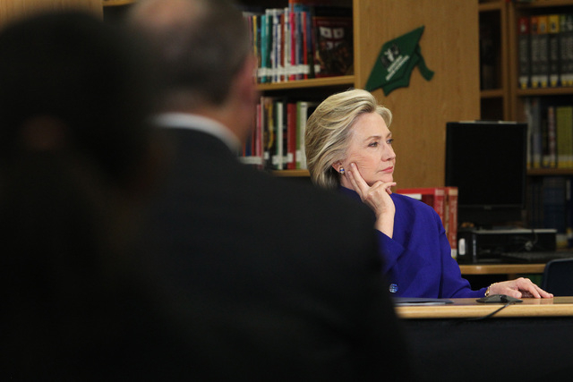 Hillary Clinton listens during a roundtable discussion on families and immigration Tuesday, May 5, 2015, at Rancho High School. (Sam Morris/Las Vegas Review-Journal) Follow Sam Morris on Twitter @ ...