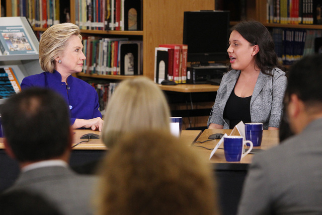 Hillary Clinton listens to Rancho High School student Betsaida Frausto during a roundtable discussion on families and immigration Tuesday, May 5, 2015, at Rancho High School. (Sam Morris/Las Vegas ...