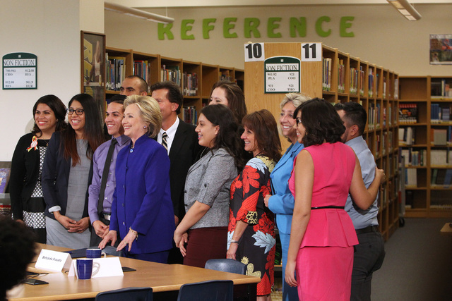 Hillary Clinton poses for photos after a roundtable discussion on families and immigration Tuesday, May 5, 2015, at Rancho High School. (Sam Morris/Las Vegas Review-Journal) Follow Sam Morris on T ...