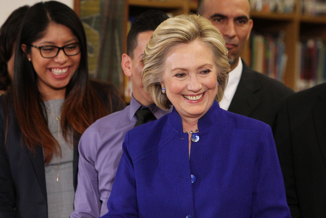 Hillary Clinton smiles after a roundtable discussion on families and immigration Tuesday, May 5, 2015, at Rancho High School. (Sam Morris/Las Vegas Review-Journal) Follow Sam Morris on Twitter @sa ...