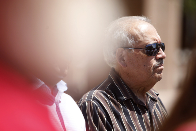Gustavo Ramos participates during a press conference outside of the Grant Sawyer Building, 555 E Washington Ave., with community activities and allies to demand Attorney General Adam Laxalt to rem ...
