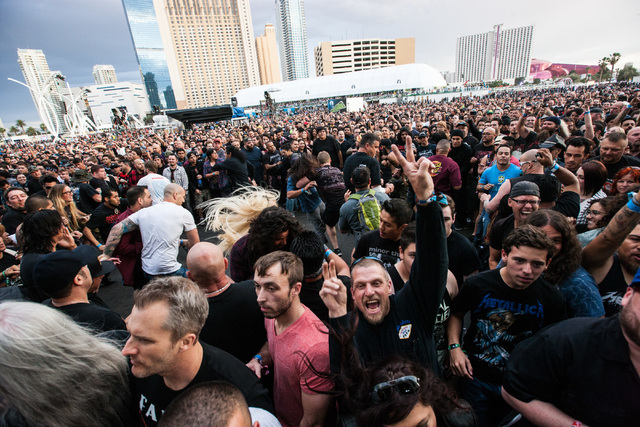 Fans cheer as Sepultura performs on the Mercedes-Benz Evolution stage during the Rock in Rio USA music festival in Las Vegas on Saturday, May 9, 2015. (Chase Stevens/Las Vegas Review-Journal) Foll ...